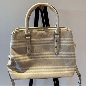KATE SPADE Stripe Canvas Crossbody Bag Beige Cream